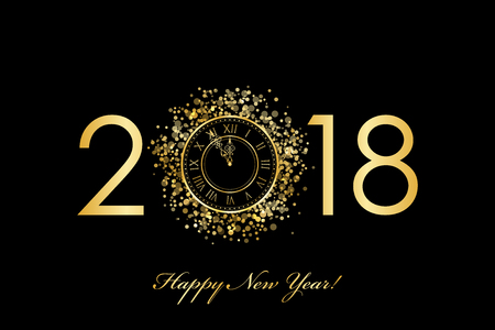 2018 Happy New Year with gold clock Stok Fotoğraf - 90772978