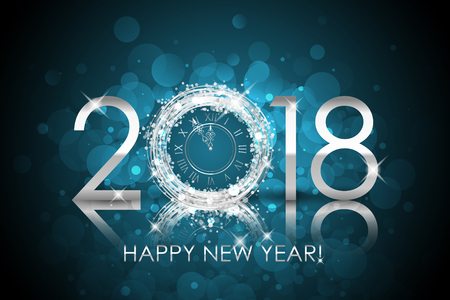 2018 Happy New Year with silver clock