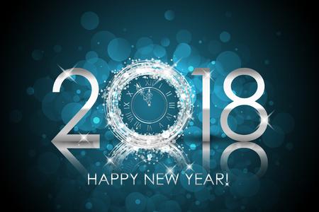2018 Frohes neues Jahr mit silberner Uhr Standard-Bild - 90772977