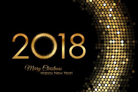 Golden 2018 Happy New Year Illustration