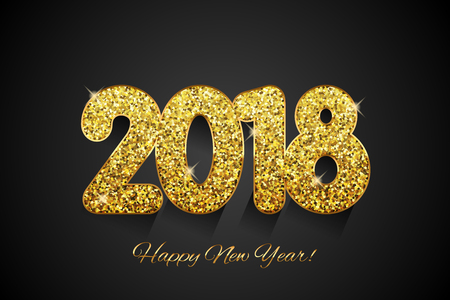 Golden 2018 Happy New Year Çizim
