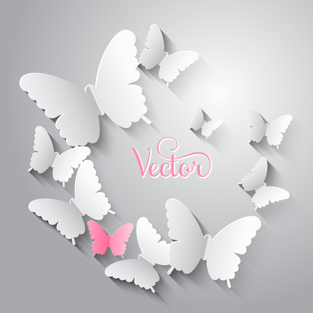 Paper cut white and pink butterflies