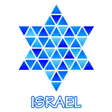 Israel Star symbol blue mosaic Ilustração