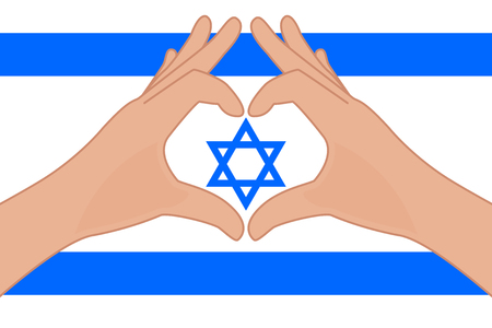 Israel flag and hands making a heart shape