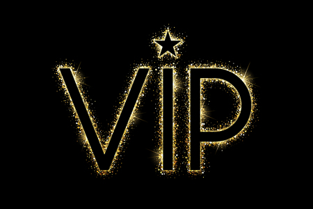 Gold glowing VIP icon with gold star