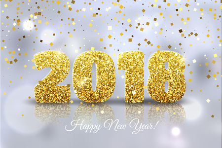 Golden Happy New Year 2018 with confetti