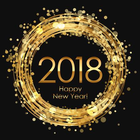 Golden 2018 Happy New Year Ilustração