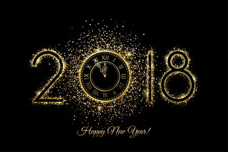 Happy New Year 2018 - Vector New Year background with gold clock on black Ilustração