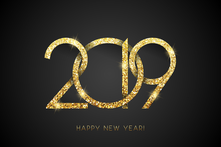 Happy New Year 2019. Vector New Year background with gold number on black
