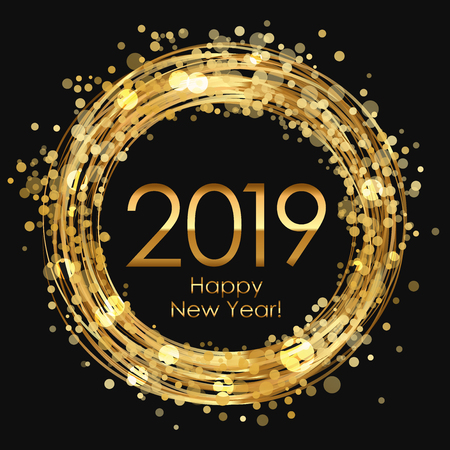 2019 Happy New Year glowing background