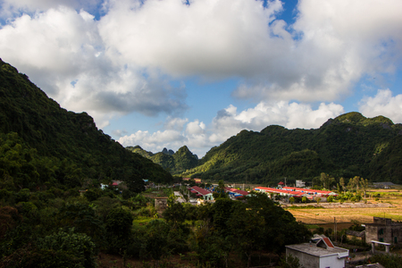 cat island: village in the mountains on the island Cat Ba, Vietnam