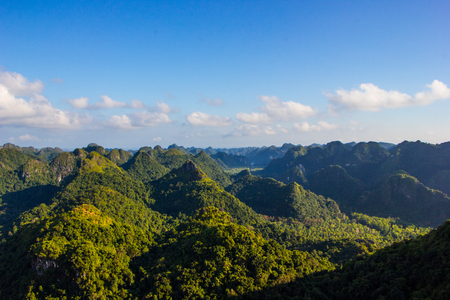 cat island: beautiful mountain landscape from the top. Cat Ba Island, Vietnam