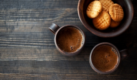 Peanut butter cookies and coffee photo