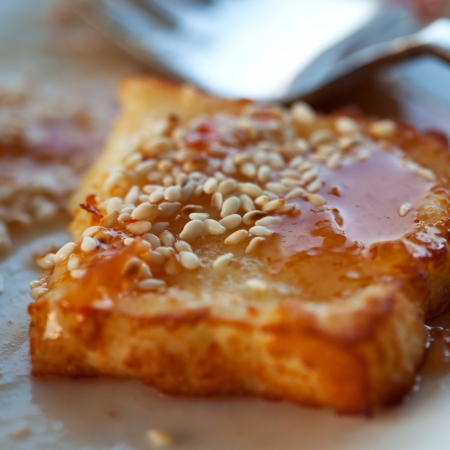 haloumi: Fried cheese with sesame Stock Photo