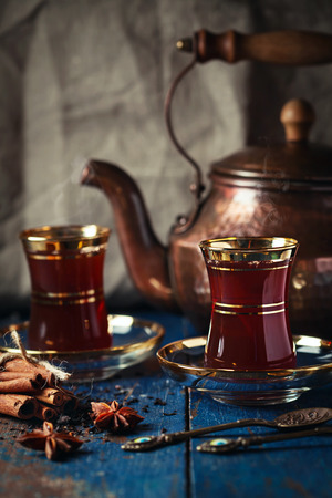 Tea served on wooden background Stock Photo - 69690328