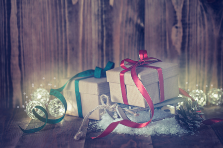 Christmas decoration with wrapped gifts
