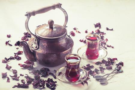 Red Hibiscus tea in turkish style Stock Photo