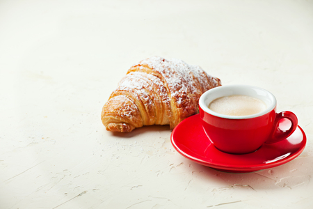 Traditional italian breakfast served on stone background Stock Photo