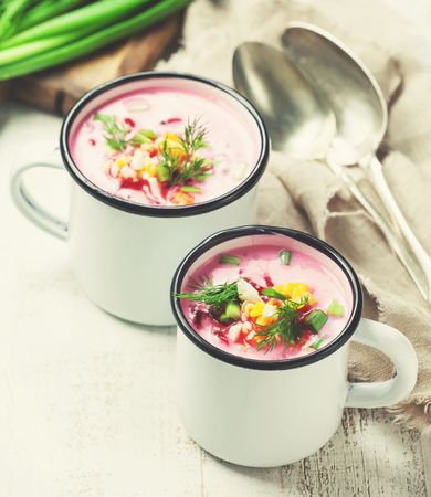 Traditional beetroot cold summer soup served in mugs Stock Photo - 73305824