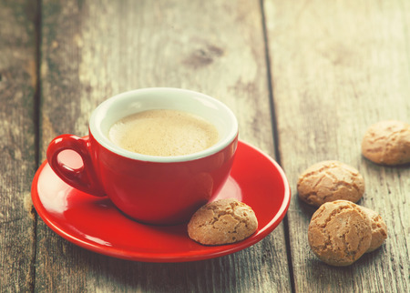 Traditional italian cookies and a cup of coffee