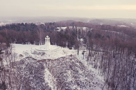 Monument of Three Crosses on the Bleak Hill in Vilnius, Lithuania