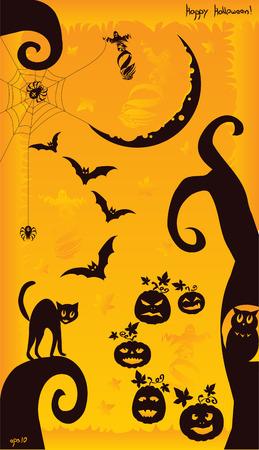 Crazy Halloween  mix on orange background Vector
