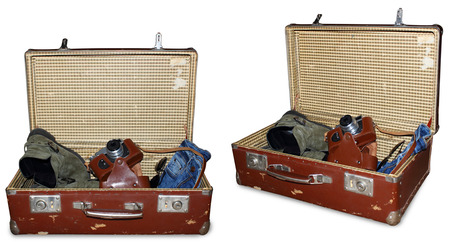aviators: 2 views of vintage suitcase with old camera boots jeans and sunglass isolated on white with PS Path to extract