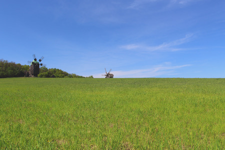 afield: Green field and blue sky in the countryside with old windmills behind Stock Photo