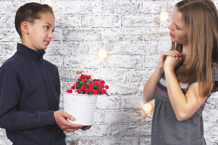 St Valentines Day. Young boy giving red flowers to his girlfriend Reklamní fotografie