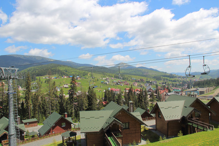 chine: Sky-resort in the spring. Cableway. View from above. Bukovel. Ukraine Stock Photo