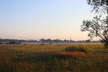 Dawn outside the city. Autumn begins. Morning fog. City skyline on the horizon Stock fotó