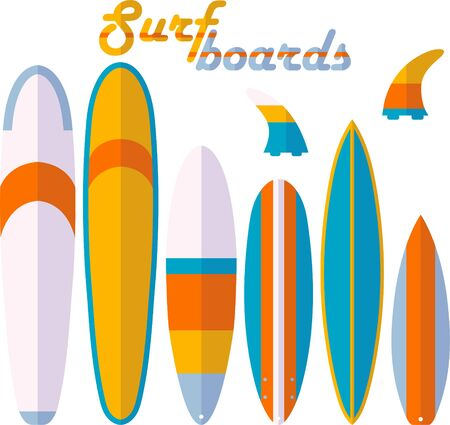 Surf boards and fins shapes types vector set. Softboard, longboard, minimalibu, funboard, shortboard, big wave gun board colorful isolated flat illustration Illustration