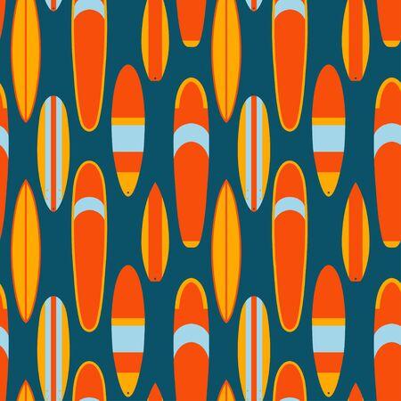 Surf boards seamless pattern. Softboard, longboard, mini malibu, funboard, shortboard, big wave gun board shapes colorful flat vector illustration Ilustração