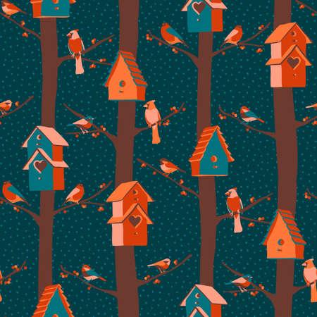 Winter birds, birdhouses, berries seamless pattern