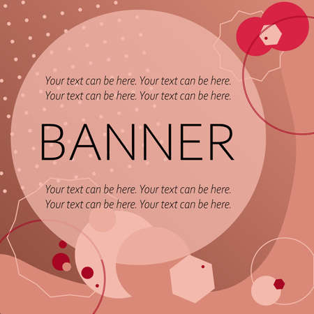 Vector abstract modern trendy stylish background with memphis style, which can be used as card, banner, flyer, invitation, stories, for bloggers, sales. Red nude beige brown colored backdrop. Illusztráció