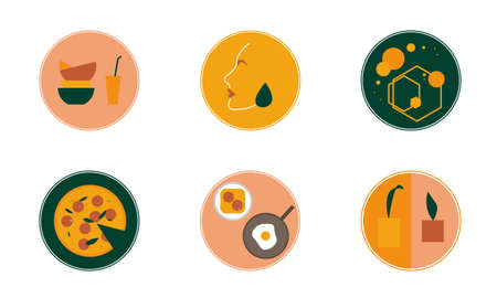 Set of round icons for social networks, instagram, bloggers, stories, highlights. Vector emblems, logos featuring sheets, face profile, dishes, earrings, abstraction, food. green orange powdery shades