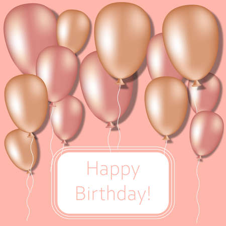 Happy birthday card with pearl balloons on pink background. For poster, postcard, parties.