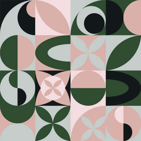 Vector circle geomitric abstract ornament pattern background. Stylish trendy modern design with different shapes in green pink black colors for banner, card, invitation. Illusztráció