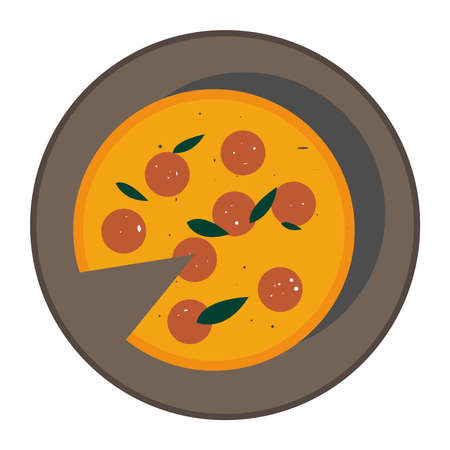 vector abstract stylish pizza illustration in trending colors: green orange, yellow. Pizza margarita with spinach sausage. Food icon for restaurant, market Illusztráció