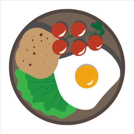 scrambled eggs with tomatoes, salad and bread. Red tomatoes with fried egg, lettuce and toast. Baner icon for food restaurant. Egg sticker, decal. Perfect breakfast. omelet