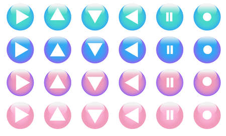 set of vector button arrows. Collection of icon buttons with signs: arrows pause stop enable. Arrows in a trendy pink and blue color on a white background.
