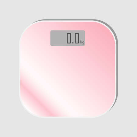 pink floor scales. Electronic home weight control equipment. Scales for sport athlete bathroom Illusztráció