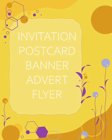 Vector abstract background for invitations greeting cards flyers brochures advertising sales banners in trendy colors like yellow, brown, purple. Simple abstraction with geometric shapes and a frame.