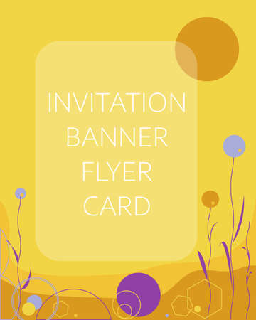 Vector abstract background for invitations greeting cards flyers brochures advertising sales banners in trendy colors like yellow, brown, purple. Simple abstraction with geometric shapes, elements.