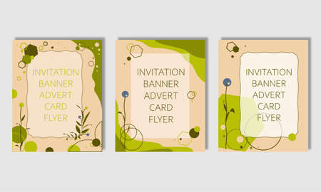 Set of abstract cards, invitations, flyers, banners, covers templates. Suitable for advertising sales. Background in pink green color. Geometric shapes elements.
