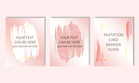 Set of cards, invitations, banners, flyers, brochures, advertisements for sales, weddings, birthday, events, congratulations in pink color with geometric shapes. Gently pink background.