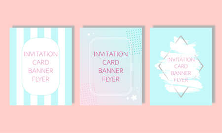 set for greeting cards invitations covers flyers booklets banners in blue. Birthday, wedding, event. Background with stripes and abstraction.