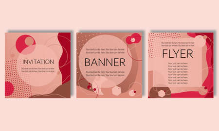 set of abstract vector backgrounds for printing, printed materials: postcards, invitations to events, advertisements, notebook covers. Backdrops with trendy Nude beige colors.