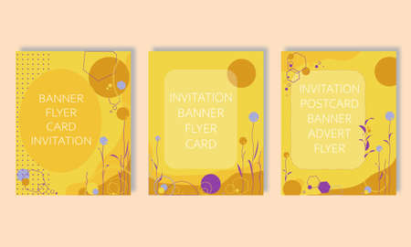 set of vector backgrounds for printing, printed materials: postcards, invitations to events, advertisements, notebook covers. Backgrounds in fashion purple yellow color in the style of Memphis.