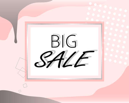 big sale - stylish banner, sticker, sign, label for sales in pink. Suitable for the beauty industry, clothing stores. Vector illustration, Memphis style. Illusztráció